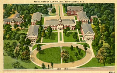 Postcard of aerial view of Elon College